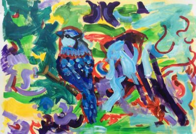 Tweeting Birds by Michelle Karpus, Acrylic on paper