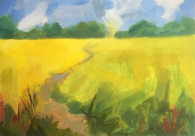 Suffolk Fields II by Margaret Crutchley, Acrylic on paper