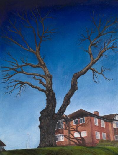 Tree on a hill by Diana Sandetskaya, Oil on canvas