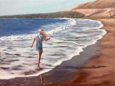 Walk on a beach by Diana Sandetskaya, Oil on canvas