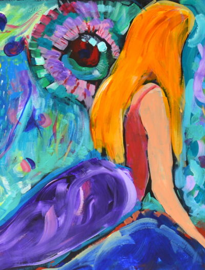 Mermaid spotting by Michelle Karpus, Acrylic on paper