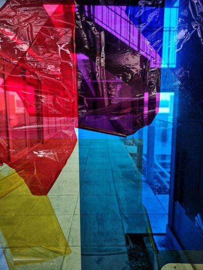 Spectrum splash  by Celestine Thomas, Cellophane and tape