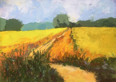 Suffolk Fields I by Margaret Crutchley, Acrylic on paper