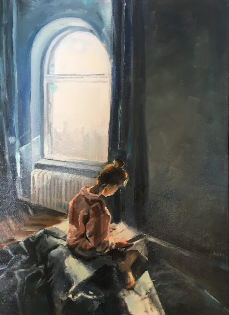 Girl reading by Ayse McGowan, Oil on canvas
