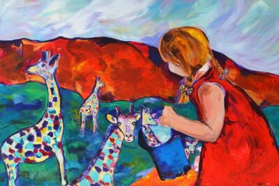 Giraffe Collecting by Michelle Karpus, Acrylic on canvas