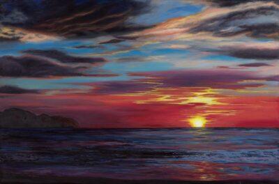 Pacific Sunset V by Diana Sandetskaya, Oil on canvas