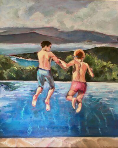Jump in by Ayse McGowan, Oil on canvas