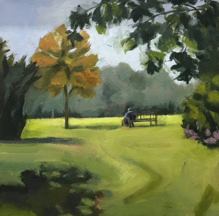 A Rest in the Park by Margaret Crutchley, Acrylic on canvas