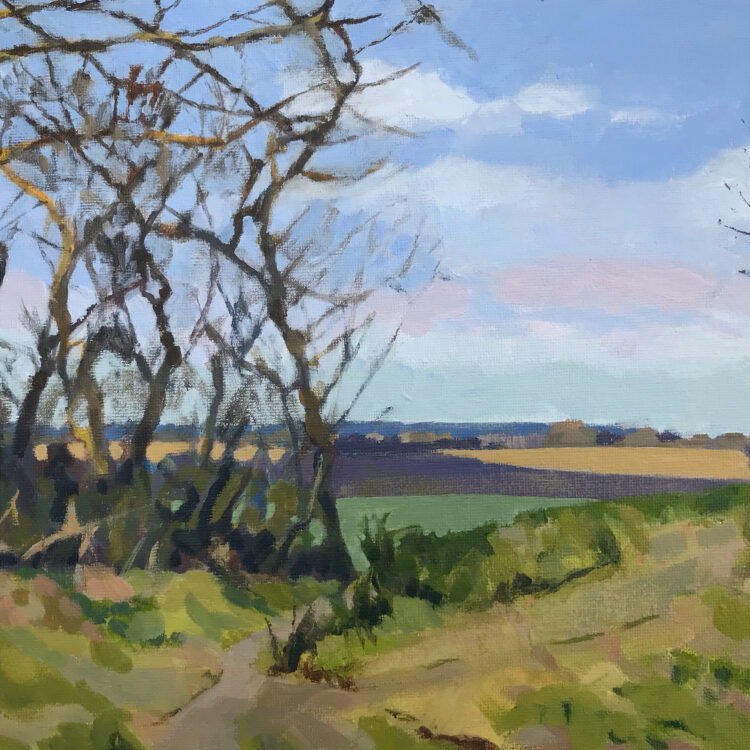 At the Boundary by Margaret Crutchley, Acrylic on Canvas Board