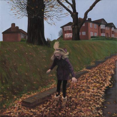 Autumn Fun on Hammers Lane by Diana Sandetskaya, Oil on canvas