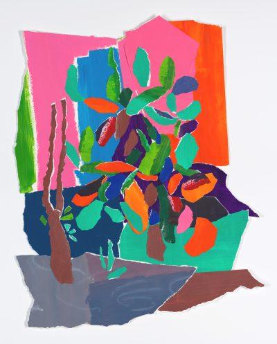 Cactus Garden by Raina Goran, Acrylic, Pastel and Collage