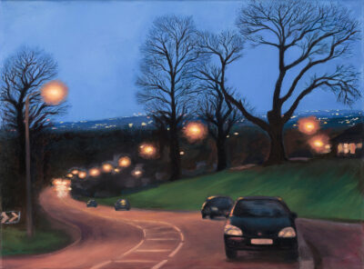 Christmas Evening on Hammers Lane by Diana Sandetskaya, Oil on canvas