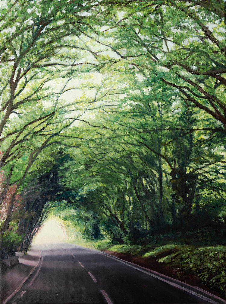 Driving Down Hendon Wood Lane by Diana Sandetskaya, Oil on canvas