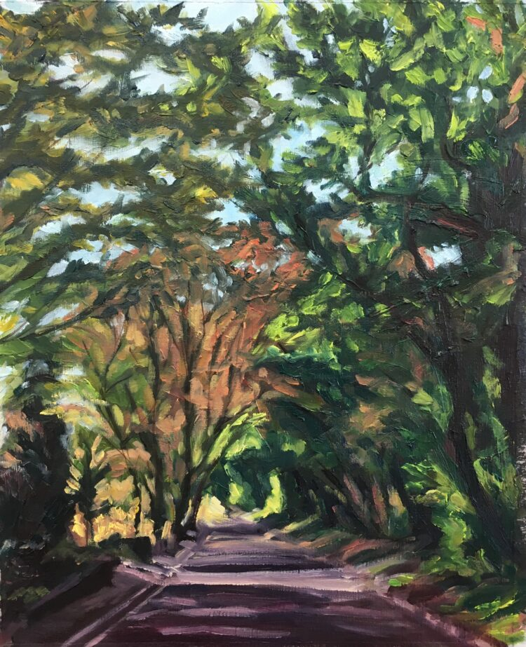 Driving Down Hendon Wood Lane II by Diana Sandetskaya, Oil on paper
