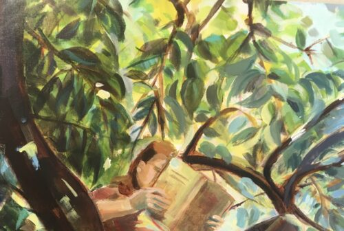 Ayse McGowan 'Girl reading in a tree' Acrylic on canvas