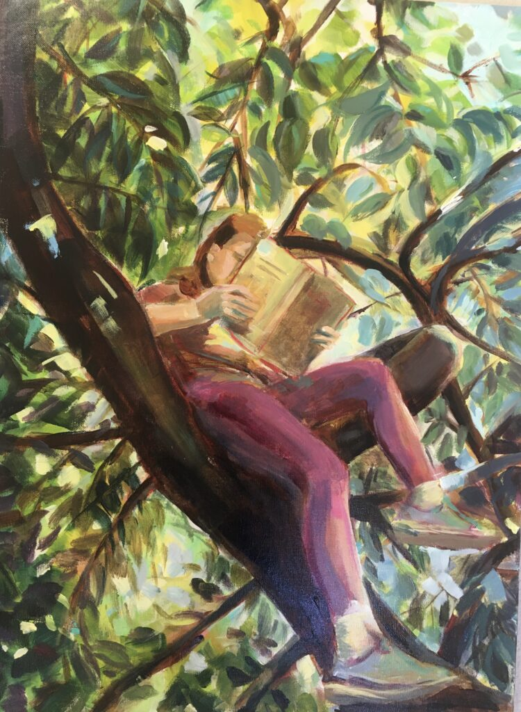 Girl reading in a tree by Ayse McGowan, Acrylic on canvas