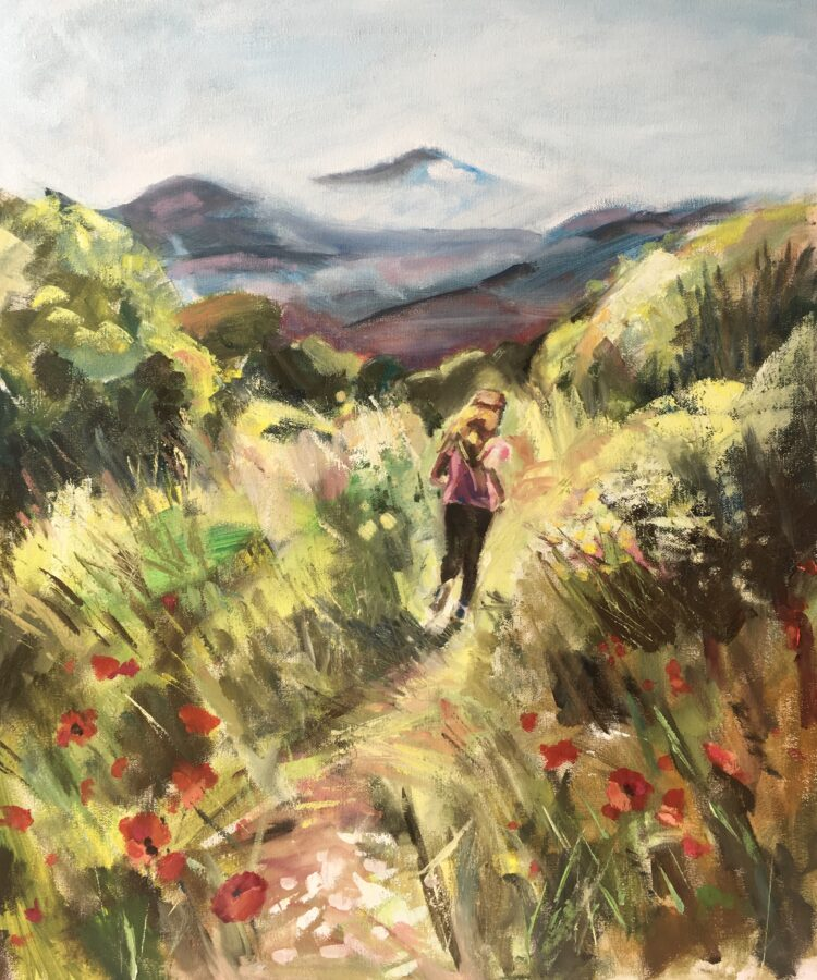 Girl on the run by Ayse McGowan, Oil on canvas