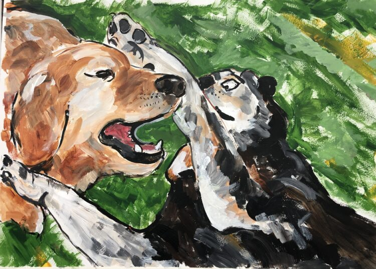 Play Fight by Michelle Karpus, Acrylic on Paper