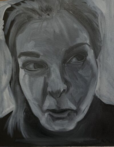 Vicky - Are you sure? by Jacqui Grant, Oil on board