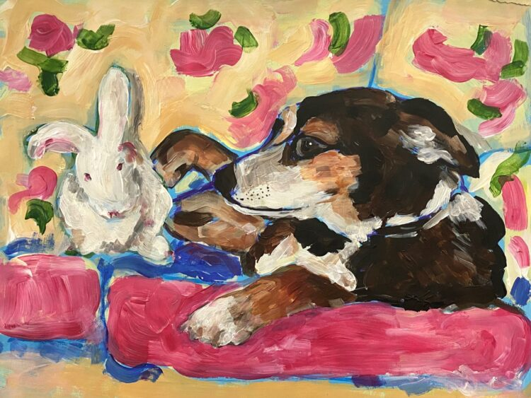 Rosie and Vanilla by Michelle Karpus, Acrylic on paper
