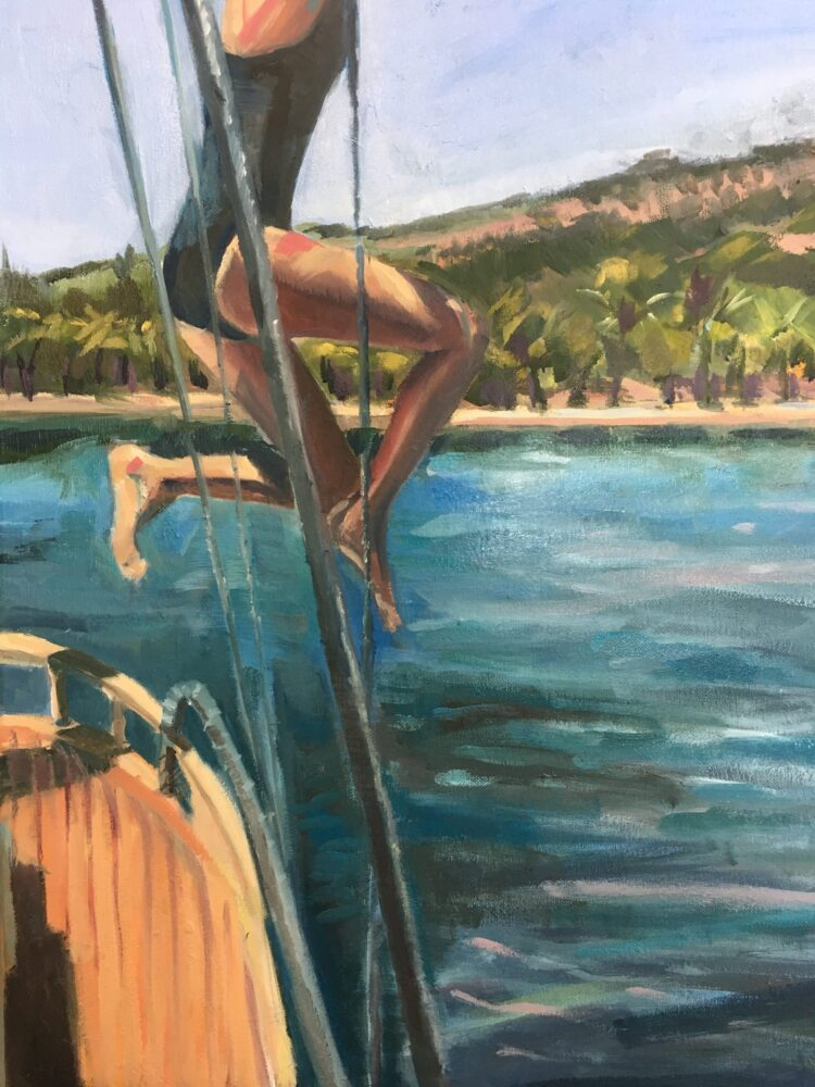 Jumping off the boat by Ayse McGowan, Oil on canvas
