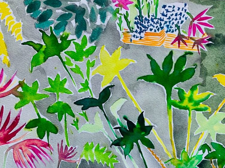 London Garden Study 1 by Alice Gavin Atashkar, Watercolour on paper