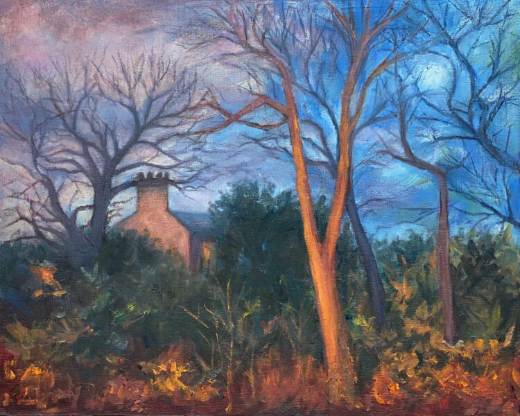 Moonlight on Page Street I by Diana Sandetskaya, Oil on wooden panel