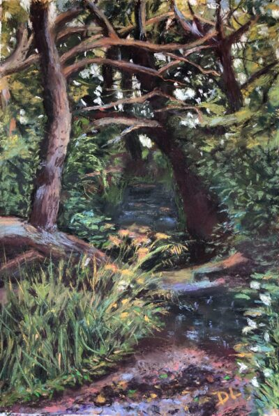 Through the trees by Dawn Limbert, Pastel on paper