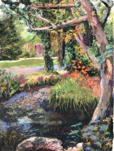 Dollis Valley Brook by Dawn Limbert, Pastel on paper