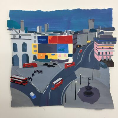 Piccadily Circus I by Raina Goran, Acrylic & collage on paper