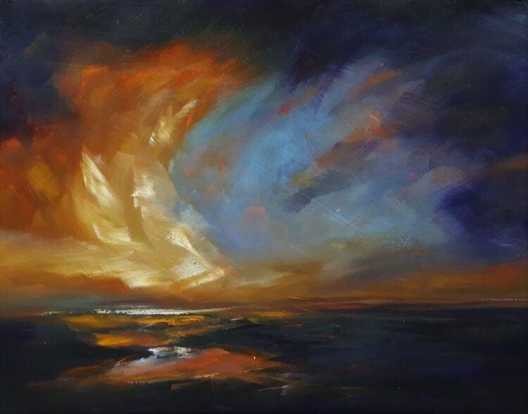Red Sky at Night by Helen Robinson, Oil on canvas
