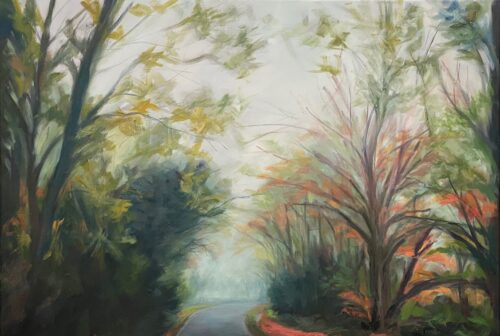 Diana Sandetskaya 'Shenleybury in Fog' Oil on canvas