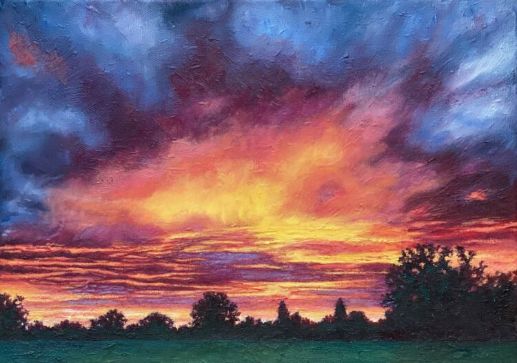 St Albans Sunset III by Diana Sandetskaya, Oil on canvas