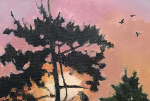 Margaret Crutchley 'Sunrise through the Pines' Acrylic on Canvas Board