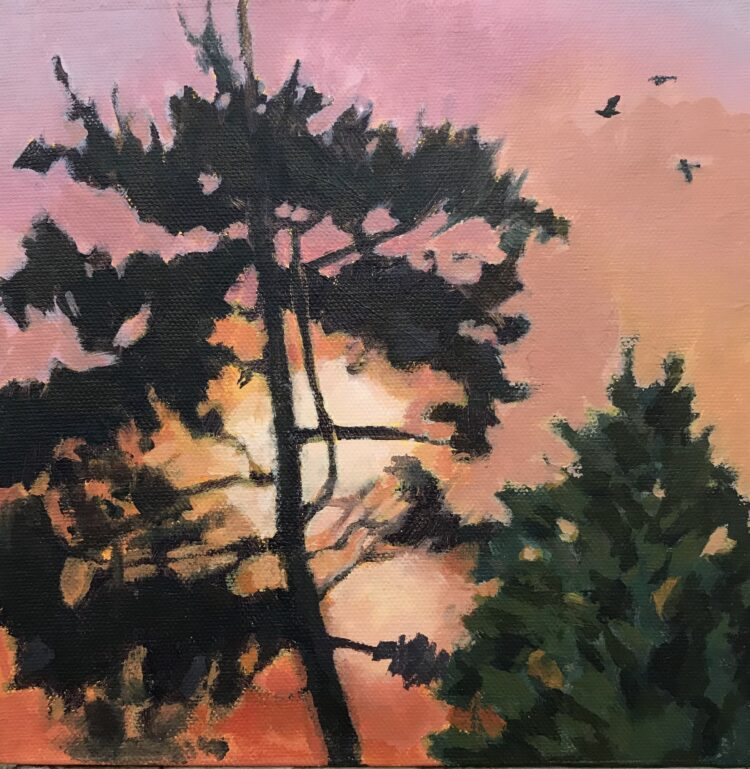 Sunrise through the Pines by Margaret Crutchley, Acrylic on Canvas Board