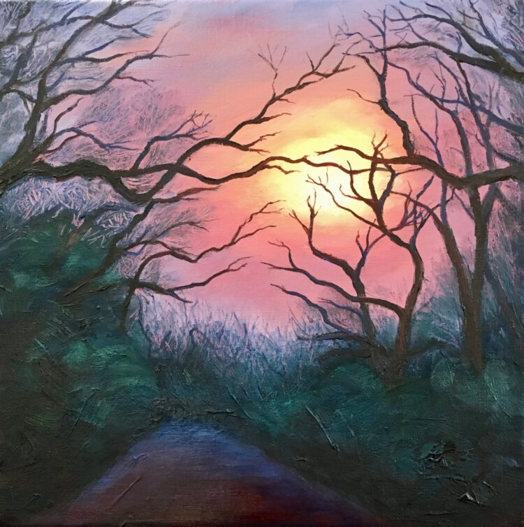 Sunset Over Highwood Hill I by Diana Sandetskaya, Oil on canvas