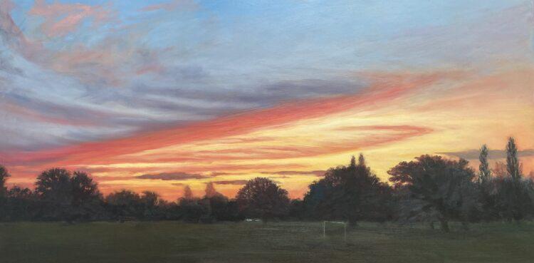 Sunset at Mill Hill Park VI by Diana Sandetskaya, Oil on cradled gesso board