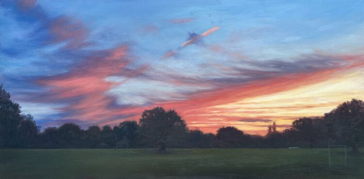 Sunset in Mill Hill Park V by Diana Sandetskaya, Oil on cradled gesso board