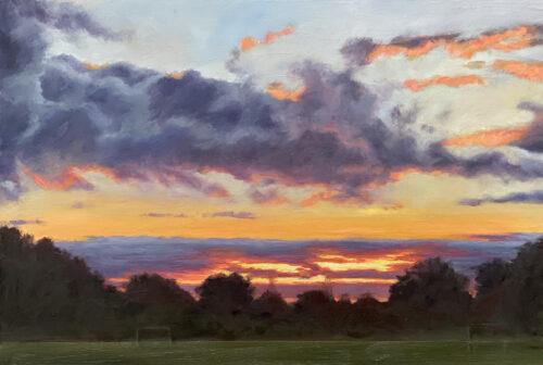 Diana Sandetskaya 'Sunset in Mill Hill Park IV' Oil on cradled gesso board