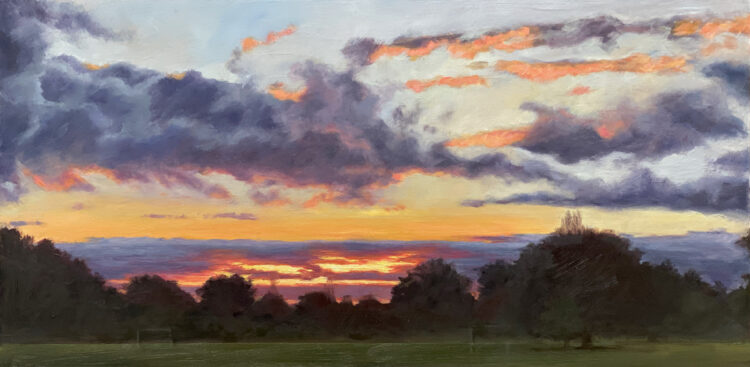 Sunset in Mill Hill Park IV by Diana Sandetskaya, Oil on cradled gesso board