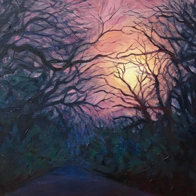 Sunset over Highwood Hill II by Diana Sandetskaya, Oil on paper