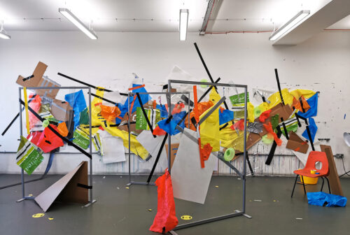 Celestine Thomas 'The Take Over' Mix Media on Studio Wall and Perspex Screen Installation