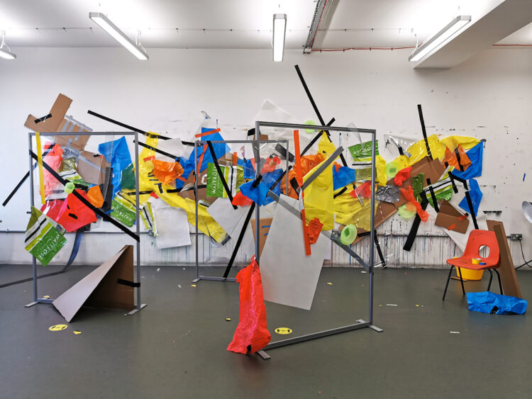 The Take Over by Celestine Thomas, Mix Media on Studio Wall and Perspex Screen Installation