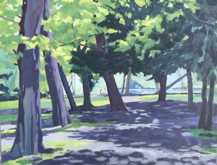 Under the Trees to the Lake  by Margaret Crutchley, Acrylic on Canvas Board