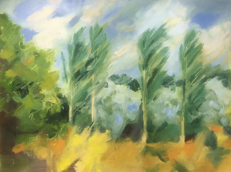 Wind in the Poplars by Margaret Crutchley, Acrylic on canvas board