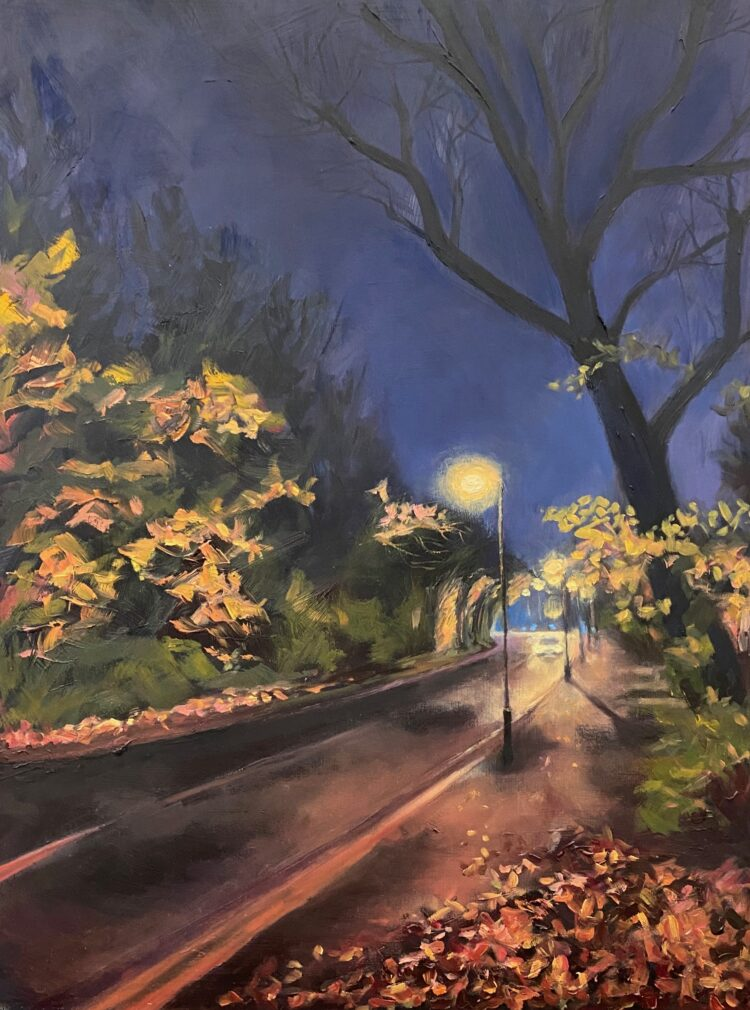 Winter Night in Wise Lane I by Diana Sandetskaya, Oil on gesso board