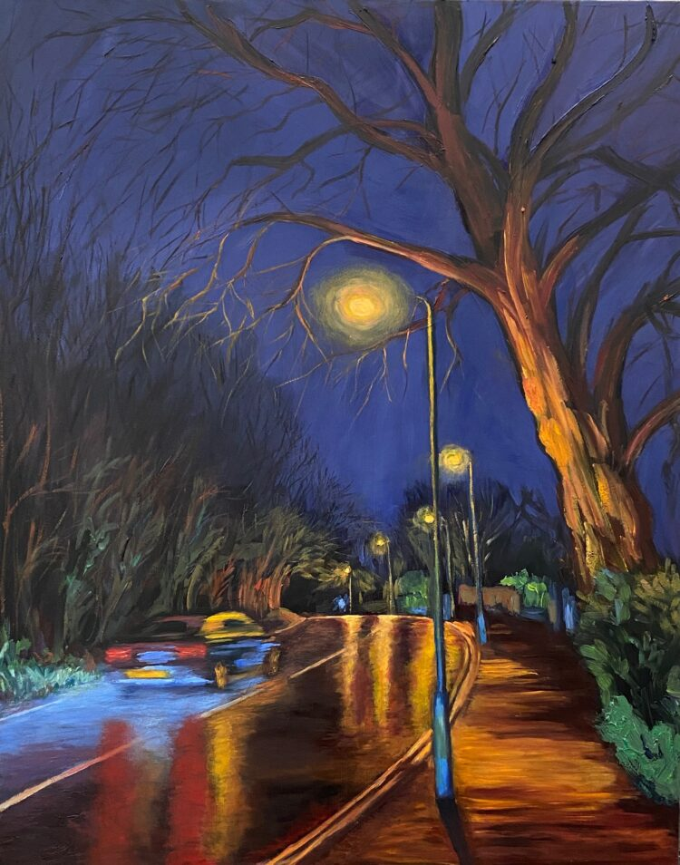 Winter Night on Wise Lane II by Diana Sandetskaya, Oil on gesso board