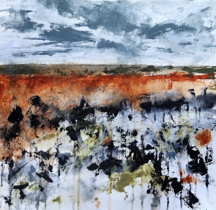 Copper Dawn by Karin Friedli, Mixed media on paper