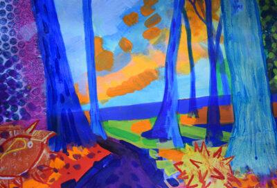 Blue Redwood by Alice Gavin Atashkar, Mixed media