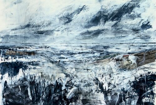 Karin Friedli 'Blue Landscape' Mixed media on paper